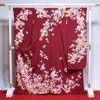 振袖 中古 リサイクル お仕立て済み お仕立て上がり 正絹 松田聖子ブランド 赤色 桜尽くし 身長150cm〜157cmくらいの方に 裄67cm  送
