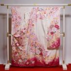 振袖 中古 リサイクル お仕立て済み お仕立て上がり 正絹 白地にピンク色 花々 身長147cm〜154cmくらいの方に 裄64cm  送料無料 正絹