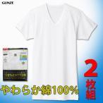 グンゼ 綿100%VネックTシャツ2枚組 やわらか肌着 半袖 V首 フライス 抗菌防臭