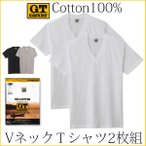 メンズ Vネック半袖Tシャツ GTホーキンス 100%コットン 2枚組 アンダーシャツ