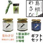 島根わさび ギフトセットC (わさび醤油漬、わさび粕漬、わさび味噌、生ワサビ、おろし器) のし対応可