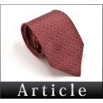 33525エルメス  ネクタイ総柄シルク幾何学模様レッド赤タグ付