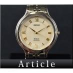 SEIKO/セイコー ドルチェ クォーツ 文字盤:シルバー×ゴールド 腕時計 ラウンドフェイス 生活防水 電池交換済み 8J41-6120 メンズ 【中古】