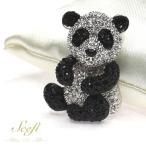 パンダモチーフ ブローチ panda ラインストーン かわいい おしゃれ ブローチピン