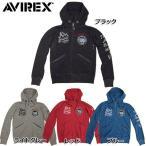 AVIREX #6123158 ピグメント 刺繍 ジップアップパーカー 09ブラック 11ライトグレー 34レッド 84ブルー
