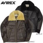 AVIREX #6131005 ムートン コンビ ライダースジャケット 09ブラック 57ダークブラウン