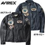 AVIREX #6161057 ワッペン シングルライダース レザージャケット 09ブラック 87ネイビー 【送料無料・北海道・沖縄・離島は別途送料追加】  日本正規販売店