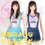 gelato jr.ガールズ・フラミンゴ×デニムJSK3P ポップトロピカル(ジュニア水着)2110(パケット便送料無料)