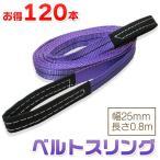 【お得な120本セット】ベルトスリング 幅25mm 長さ0.8m 使用荷重800kg スリングベルト 吊上げ、移動、運搬、物流に最適!