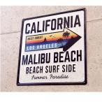 マリブビーチ デザイン エンボスプレート カリフォルニアサーフデザイン看板 おしゃれなインテリアプレート看板