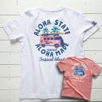 レディース メンズサイズ ワーゲンバスのハワイアンメッセージプリントTシャツ サーフボード付きワーゲンイラスト半袖 カットソー  ユニセックス