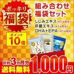 サプリ サプリメント 1000円ぽっきり福袋 しじみエキス 肝臓エキス DHA+EPA 各約1ヶ月分 ダイエット