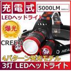 LEDヘッドライト レッド 防水 5000lm SOSフラッシュ機能CREE社T6 3200mAh×2
