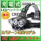 LEDヘッドライト 防水 6000lm 5灯式 フォグランプ搭載モデル 釣り アウトドア 充電式 SOSフラッシュ機能CREE社T6