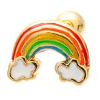 【スリーナイン】 18G ボディピアス 虹 の 橋 レインボーブリッジ 片耳ピアス ステンレス TPB047 (ゴールド)