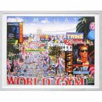 ヒロヤマガタ 絵画 「プレミアショー」 美術印刷 複製画 額付き ポスター ハリウッド 大通り プルミエショウ A698