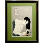 喜多川歌麿 婦人相学拾躰髪すき 額付き 復刻 浮世絵 木版画 錦絵 江戸の美人画 現品限り A1415