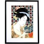 喜多川歌麿 虫籠 額付き 復刻 浮世絵 木版画 錦絵 江戸の美人画 現品限り A1560