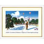 ヒロヤマガタ 絵画  「USオープン」 ジクレー 額付き ゴルフ場 ジャック ニクラス ポスター 額付き B4510