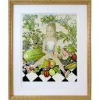 藤田嗣治 作品「少女と果物」リトグラフ エスタンプ 額付き 美品です 絵画 複製画 版画 真作保証 美少女 人物画 かわいい B4552