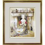藤田嗣治 作品 新品 「暖炉の前の少女」シルクスクリーン 額付き 絵画 複製画 版画 真作保証 B4712