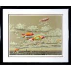 ヒロヤマガタ 絵画「スカイサイクル」シルクスクリーン 額付き 1982年制作 風景画 ヒロ・ヤマガタ B4938