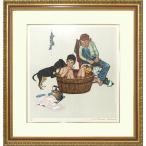 ノーマン・ロックウェル「お風呂」リトグラフ 額付き 美品です 絵画 版画 ビンテージ Lickin Good Bath B5015
