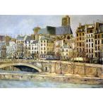 モーリス・ユトリロ 「パリのサン・ジュルヴェ教会」 P10号相当 額付き プリハード 複製画 パリの風景 エコール・ド・パリ 個人所蔵 P5314