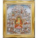 【チベット仏教画】 仏画「阿弥陀来迎図」 真筆 額付き 【現品限り】【送料無料】【真作保証】 #496