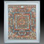 【チベット仏教画】 仏画 「曼荼羅」 バグワン・ラマ/筆 肉筆画 額付き 現品1点限り 仏教美術 マンダラ #499
