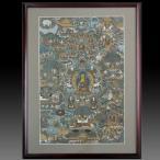 【チベット仏教画】 仏画 「釈迦伝」 肉筆画 額付き 現品1点限り 仏教美術 お釈迦様の生涯を描いた 寺院 仏間に 密教 B505