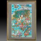 【チベット仏教画】 仏画 「摩耶夫人と釈迦誕生」 ラトナ・サ・ラマ/筆 肉筆画 額付き 1点限り 仏教美術 花祭り マーヤー タンカ #518