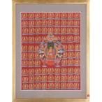 【チベット仏教画】 仏画 「釈迦千体仏」 真筆 額付き 肉筆作品 密教 大蔵経 現品限り 送料無料 仏教美術 供養 回向 B519