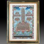 【チベット仏教画】 仏画 「集会樹」 パッサン・ラマ/筆 肉筆画 額付き 現品1点限り 仏教美術 ツォンカパ 送料無料 B520