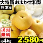 梨 大特価 熊本産 おまかせ和梨 約4kg 1箱 送料無料 和梨★旬の人気品種見計らい★