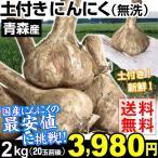 ニンニク 青森産 土付き 生にんにく 2kg 1組 送料無料 ホワイト六片