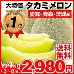 メロン 約4kg タカミメロン ご家庭用 青肉メロン 大特価 果物 食品