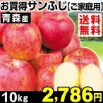 りんご リンゴ  青森産 お買得 サンふじ 【ご家庭用】 10kg1箱 送料無料 特別版