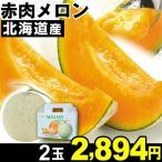 メロン 北海道産 赤肉メロン 2玉1箱 食品