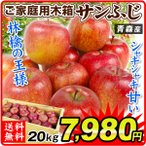 りんご 青森産 大特価 木箱 サンふじ(約20kg)50〜90玉 木箱 ご家庭用 大量 林檎 フルーツ 国華園