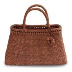 ショッピングかごバッグ 《伝統的な網代編みの風合いを活かした》山葡萄籠工房 山ぶどうかごバッグBK-09Y 網代編 Mサイズ 飾細工付