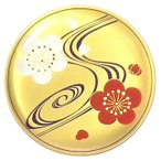 《琳派の絵画をモチーフに。現代に生きる和柄の香皿》七丸製作所 香皿(琳派・紅白梅)白檀線香付24金パールメッキ仕上