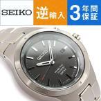 逆輸入 SEIKO セイコー クロノグラフ キネティック メンズ 腕時計 ダークグレーダイアル チタニウムベルト SKA713P1