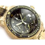 正規品 逆輸入 SEIKO セイコー クォーツ パイロットアラームクロノグラフ メンズ腕時計 ゴールド ブラックダイアル ゴールドステンレス SNA414P1