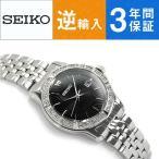 逆輸入 SEIKO セイコー クォーツ レディース腕時計 ブラックダイアル シルバーステンレスベルト SUR733P1