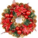 クリスマスリースクリスマス花輪ナチュラルリースドア玄関庭園壁飾りガーランド松かさレッドフルーツ華やか可愛いおしゃれ正月飾り
