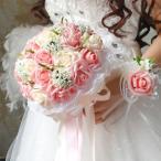 ウエディングブーケ ブートニア 花束 花飾り 結婚式 ローズ 造花 ウェディング用 アレンジメント 花嫁 披露宴 手作り キット ブライダルブーケ ジュエリー