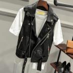 普段着 トップス ブルゾン (PUレザー ジャケット) PU ジャケット Leather Jacket ライダースジャケット 革ジャン フェイクレザー レディース ベスト 女性 細身