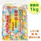 熱中飴 I II III ミックス 業務用 1kg レモン味 梅味 夏みかん味 1粒に塩分300mg超 井関食品