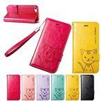 ショッピングレザー ストラップ iPhone6s / iPhone6 手帳型PUレザーケース  ストラップ/カードポケット付 猫イラスト